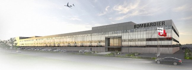rendering of new bombardier manufacturing facility at Pearson Airport in Toronto