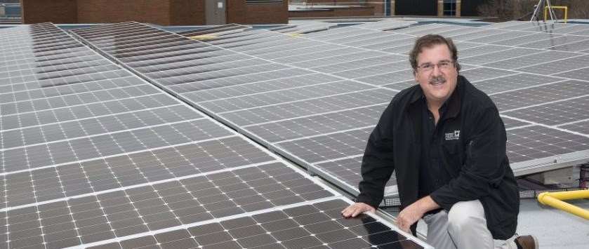 Thomas Davis, professor in Fanshawe College's Donald J. Smith School of Building Technology has installed 600 photovoltaic panels on the roof of the college's H-Building in London.